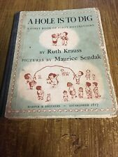 Vintage 1952 A HOLE IS TO DIG Ruth Krauss, Maurice Sendak HC First Edition