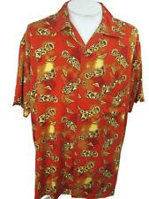 GUESS Men Hawaiian ALOHA shirt pit to pit 26.5 slim L Tiki God luau vintage 90s