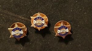 Rare Set of 3 Esso Gold and Diamond Long Service Lapel Pins