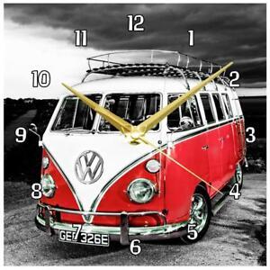 """VW Orange/Red Campervan Handmade Wall Clock 19.6cm / 8"""""""