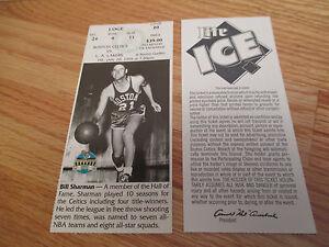 Game 20 BILL SHARMAN Last Season BOSTON CELTICS 1/20/95 TICKET Boston Garden