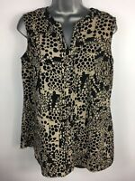 WOMENS PAUL COSTELLOE BLACK LABEL BLACK BROWN PATTERNED SLEEVELESS BLOUSE UK 12