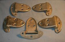 VINTAGE ICE BOX HARDWARE SOLID BRASS NICKEL PLATED 5 HINGES marked D in circle