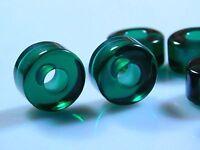 Pair Of Hydro Emerald Green Quartz Wheel Shape Big Hole European Bracelet Beads