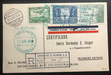 1936 El Salvador Hindenburg Zeppelin FFC PC cover LZ129 to Frankfurt Germany