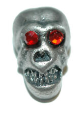 SILVER TONE SKULL WITH RED CRYSTAL EYES TIE PIN TACK (083)