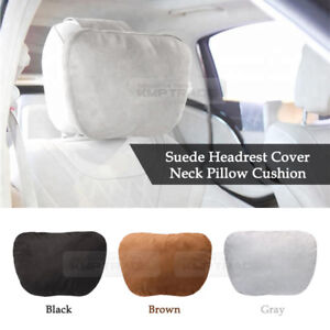 Neck Pillow Headrest Cover Soft Suede Leather Cushion 3Color 1EA for All Vehicle