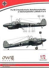 Owl Decals 1/72 FOCKE WULF Fw-58C NACHTSCHLACHT Luftflotte 4 or 6 w/Paint Mask