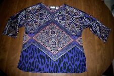 CHICO'S - SILKY SCARF-PRINT PULLOVER DOLMAN-SLEEVED BLOUSE – SZ 2 = MISSES 8/10