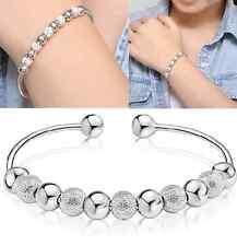 Women Silver Plated Rotate Matte Beads Lucky Bracelet Bangle Cuff Jewelry Gift