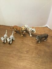 Schleich Lot Of 4 Tigers Cubs Orange Male White & 1 Wolf