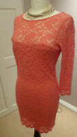 Topshop Pink / Coral Floral Lace Bodycon Dress Size UK 10