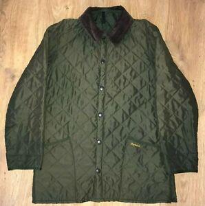 Barbour D372 Eskdale mens olive green quilted jacket size M