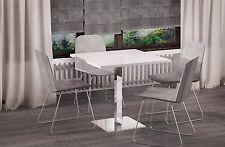 Esstisch 80x80cm Hochglanz Weiss Chrom Säulentisch Bistrotisch Küchentisch Tisch