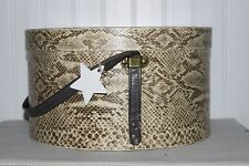 Scarce Weighty Antique Brown Reptile Print Wallpaper Round Hat Box Vinyl Strap