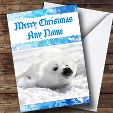 White Seal Personalised Christmas Greetings Card