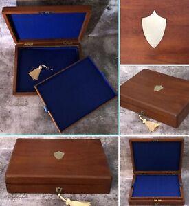Antique Silversmith Wood Box Collector Display Case Lock Key Blue Felt Top Tray