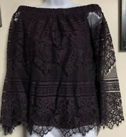 NWT Apt 9 Purple Lace Off The Shoulder Bell Sleeve Shirt Top Blouse Size Small S