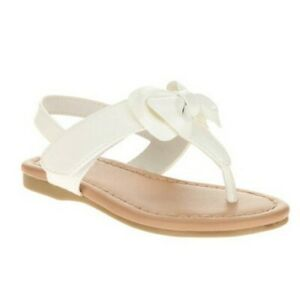 FADED GLORY Toddler Girl's Bow Strap Sandals - WHITE - 8
