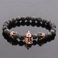 Hot Men Nature Stone Crown Spacer CZ Rose Gold Spartan Beads Bracelets Masculina