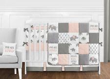 Blush Pink Grey White Watercolor Elephant Safari Baby Girl 9p Crib Bedding Set