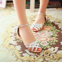 01dc609cd28 Women s Hollow Out Summer Sandals Flats Low Heel Ankle Strap Shoes Plus Size