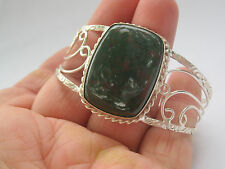 Sterling Silver Plated / Bloodstone Bracelet By a Local Artist, One of a Kind!