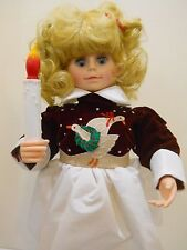 TELCO MOTIONETTE ANIMATED DOLL GIRL CHRISTMAS QUEEN CANDLE GOOSE APPLIQUE