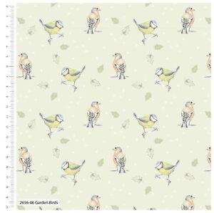 "Fabric Garden Birds 100% Cotton 112cm (44"") wide #2655-06 Birds Green"