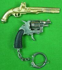 Vintage Set 2 Miniature Toy Model Revolver Pistol Gun Key Chain