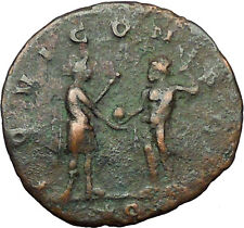 AURELIAN receiving globe from nude Jupiter 272AD  Ancient Roman Coin  i35042