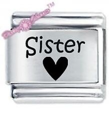 DAISY CHARM Etched Italian Charm - SISTER HEART