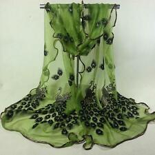 Women Peacock Flower Embroidered Lace Scarf Long Soft Wrap Shawl NEW