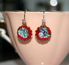 Vintage Japan Red harlequin RARE foil art glass brass dangle earrings