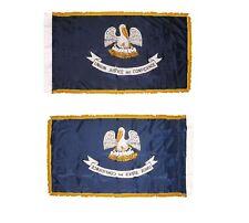 3x5 Louisiana State Poly Nylon Sleeve w/ Gold Fringe Flag 3'x5' Banner