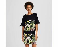 Women's Black Satin Photo Floral Top Ruffle Sleeve - Victoria Beckham S & M