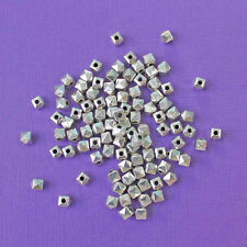 50 Spacer Beads Silver Tone 5mm x 5mm Unique Faceted Design - FD446