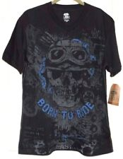 New Mens Born to Ride Skull T-Shirt Black Route 66 Size Small Short Sleeves