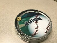 MLB Seattle Mariners Baseball Team Logo 4pk Drink Coasters With Collector Tin