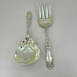 Antique Art Nouveau Wallace Eton Sterling Silver 2 Pc Salad Serving Set S Mono