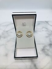 9ct yellow & white gold round earrings total weight 2.05 grams value £130