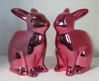 Yankee Candle Easter CHROME PINK BUNNY Taper Holder #1552581 pair set lot of 2