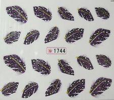 Nail art stickers décalcomanie mode: Plumes design - motif léopard violet