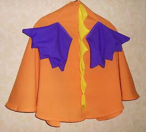 Umhang oranger DRACHE mit lila Flügeln Drachenumhang Cape Kostüm Fasching Flügel