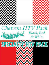 RED, BLACK & WHITE CHEVRON HTV Special Project Pack Heat Transfer Vinyl
