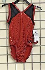 """GK  Gymnastics Leotard in red patterned mystique - 28"""" - CL (795)"""