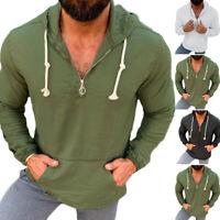 Men's Half Zip Cotton T Shirt Henley Causal Long Sleeve Hoodies Hippy Top Blouse