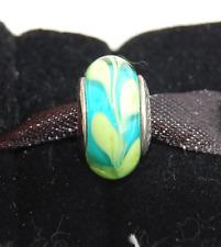 """Genuine Pandora Murano Glass Bead """"Aqua Green Swirly Swirl"""" 790673 - retired"""