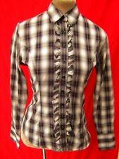 TM Lewin Black white Pink Tartan Check Cotton Ruffle Frill dressage Shirt Sml 10