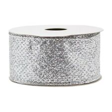"New Christmas Gift Wrap Spritz Fabric Ribbon 1-1/2"" X 12 Ft Silver Glitter"